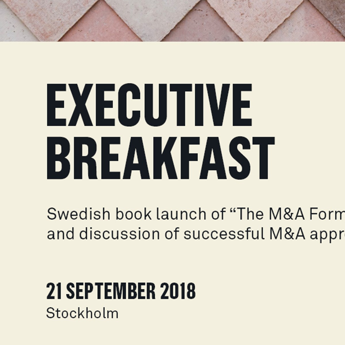 Executive Breakfast and book launch of The M&A Formula
